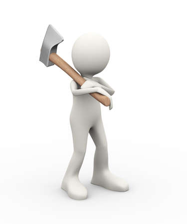 3d illustration of man carrying axe on his shoulder. 3d human person character and white people Stock Photo