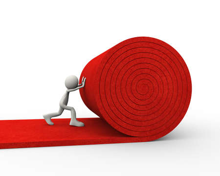 3d illustration of man worker rolling red carpet. 3d human person character and white people