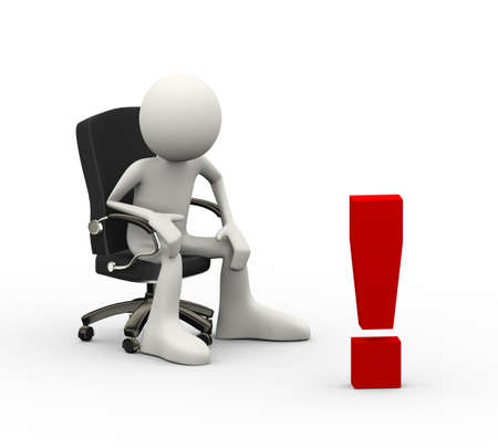 3d illustration of man seated on business chair looking at exclamation mark. 3d human person character and white people