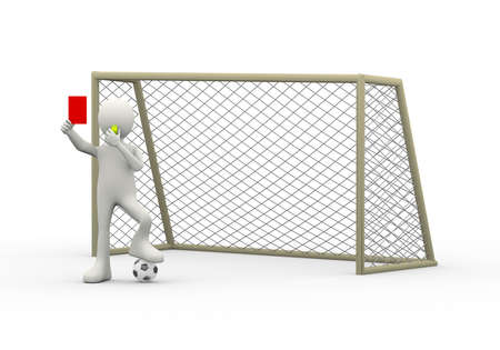 3d illustration of referee arbiter in front of goal with whistle showing red card. 3d human person character and white people