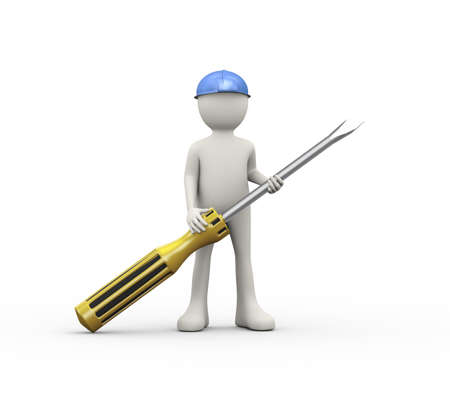 3d illustration of man in hardhat helmet holding screwdriver. 3d human person character and white people