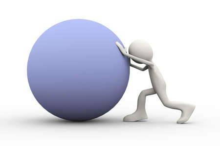 3d illustration of man pushing a ball uphill showing determination. 3d human person character and white people Stock Photo