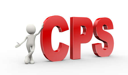 3d illustration of man standing with cps cost per sale. . 3d human person character and white people Stock fotó