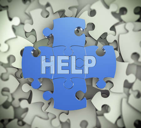 3d illustration of attached jigsaw puzzle pieces word help presentation on background of heap of puzzle pieces