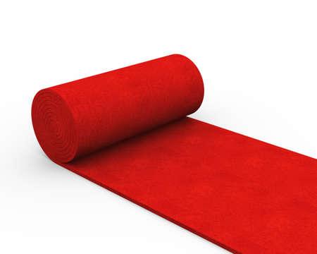 3d illustration of red rolling carpet
