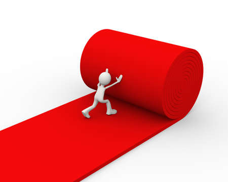 3d illustration of man rolling red carpet. 3d human person character and white people