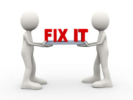 3d illustration of people holding fix it text. 3d human person character and white people