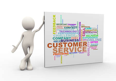 3d illustration of man standing with customer service  wordcloud word tags. 3d human person character and white people