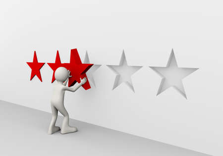 3d illustration of man placing star presenting concept of giving 5 red stars rating. 3d human person character and white people
