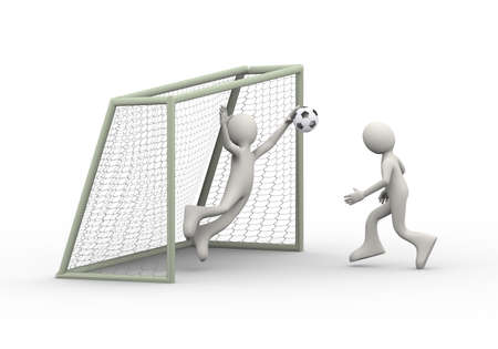 3d illustration of football soccer player striking and shooting ball into goal while goal keeper trying to stop it. 3d human person character and white people