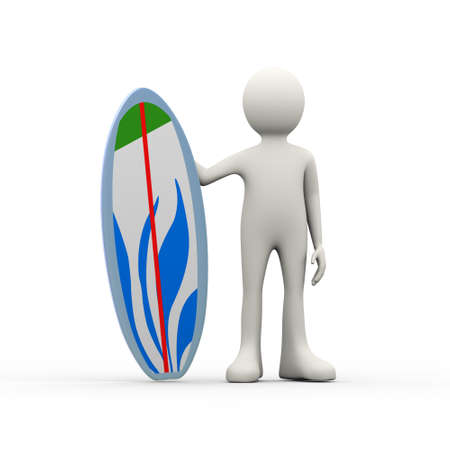3d illustration of man surfer standing with surfboard. 3d human person character and white people