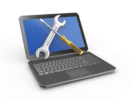 3d illustration of laptop with wrench and screwdriver. Concept of laptop, computer service and repairing