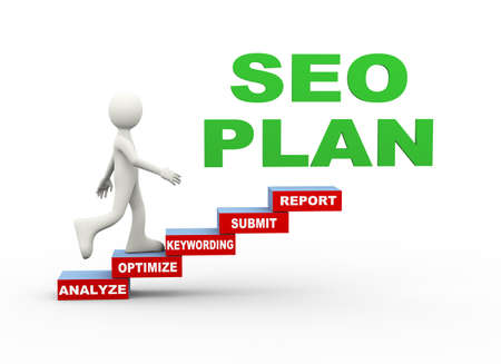 3d illustration of man seo search engine optimization plan word text steps concept. 3d human person character and white people