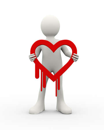 3d illustration of man holding security breach heartbleed symbol icone. 3d human person character and white people Stockfoto