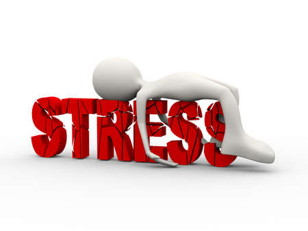 3d illustration of frustrated stressful person lying depressed on cracked word stress. 3d human person character and white people