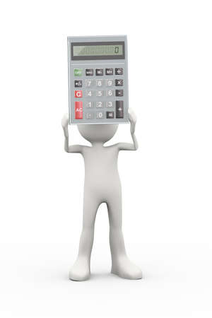 3d illustration of man holding calculator. 3d human person character and white people Stock Photo