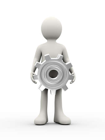 3d illustration of man holding chrome metallic gear cog wheel. 3d human person character and white people Stock Photo
