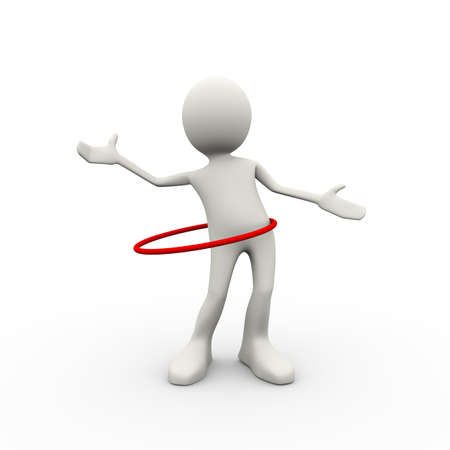 3d illustration of man playing toy hoop exercise. 3d human person character and white people