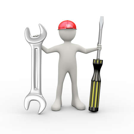 3d illustration of man in red hardhat helmet holding screwdriver and wrench repairing tool. 3d human person character and white people Stock Photo