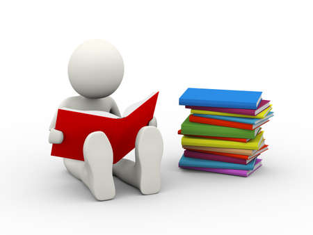 3d illustration of man reading book sitting near pile of books . 3d human person character and white people Stock fotó - 117673149