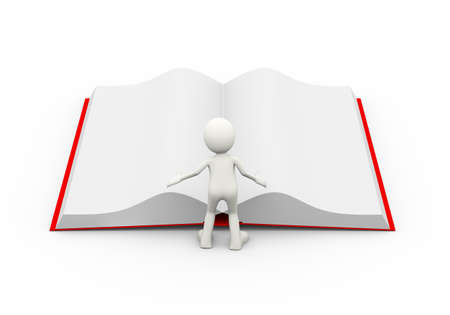 3d illustration of man looking at large open book. 3d human person character and white people