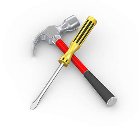 3d illustration of repairing tool claw hammer and screwdriver Stock Photo