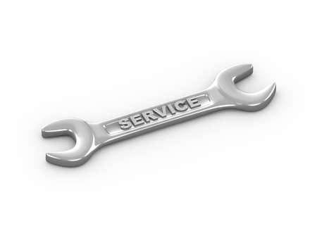 3d illustration of repairing tool wrench with text word service