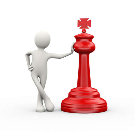 3d illustration of man standing with red big chess piece. 3d human person character and white people