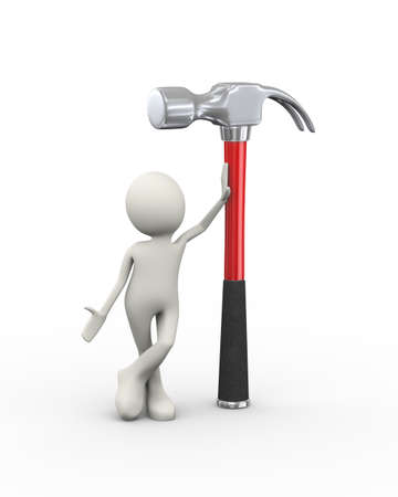 3d illustration of man standing with large claw hammer. 3d human person character and white people