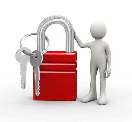 3d illustration of man standing with big padlock and keys. 3d human person character and white people Stock Photo