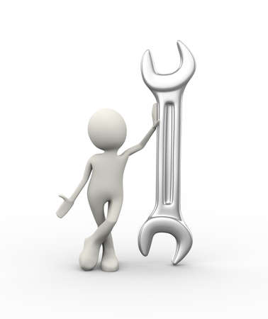 3d illustration of man in standing with large steel wrench. 3d human person character and white people Stock Photo