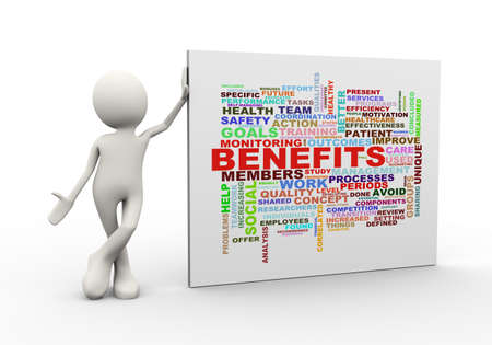 3d illustration of man standing with benefits wordcloud word tags. 3d human person character and white people. Banco de Imagens