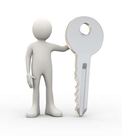 3d illustration of man standing with large key. 3d human person character and white people