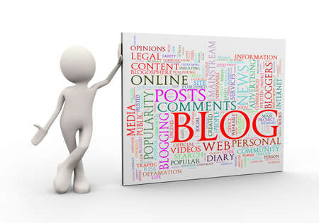 3d illustration of man standing with blog wordcloud word tags. 3d human person character and white people Stock Photo