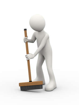 3d illustration of man cleaning with broom stick  brush. 3d human person character and white people. Stock Photo