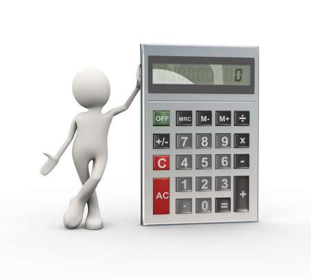3d illustration of man standing with calculator. 3d human person character and white people.