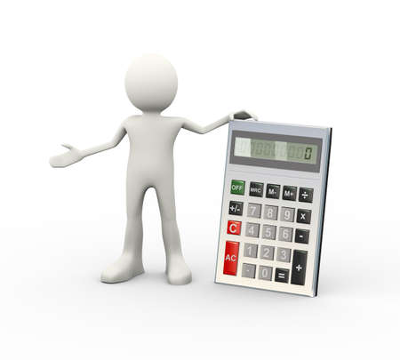 3d illustration of man with calculator. 3d human person character and white people
