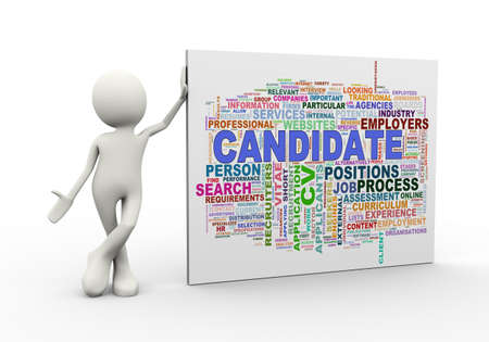 3d illustration of man standing with candidate wordcloud word tags. 3d human person character and white people Stock Photo