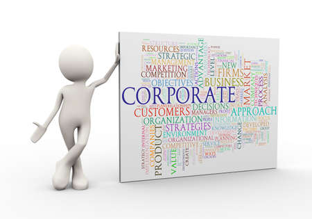 3d illustration of man standing with corporate wordcloud word tags. 3d human person character and white people Stock Photo