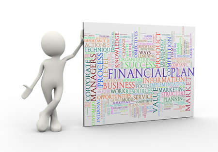 3d illustration of man standing with financial plan wordcloud word tags. 3d human person character and white people