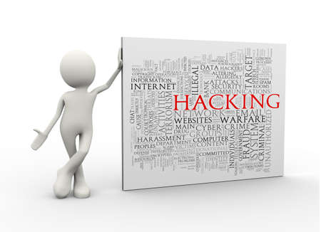 3d illustration of man standing with hacking wordcloud word tags. 3d human person character and white people Stock Photo