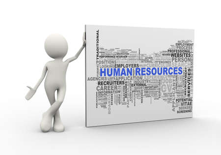3d illustration of man standing with human resources wordcloud word tags. 3d human person character and white people Stock Photo