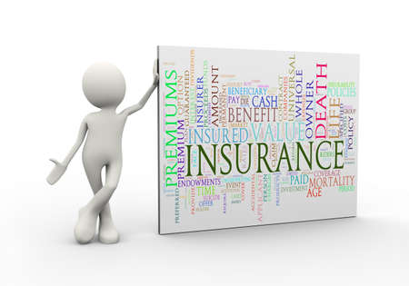 3d illustration of man standing with insurance wordcloud word tags. 3d human person character and white people
