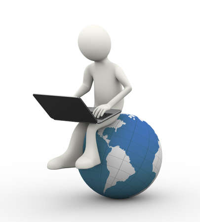 3d illustration of man sitting on world map globe working with laptop. 3d human person character and white people Stock Photo