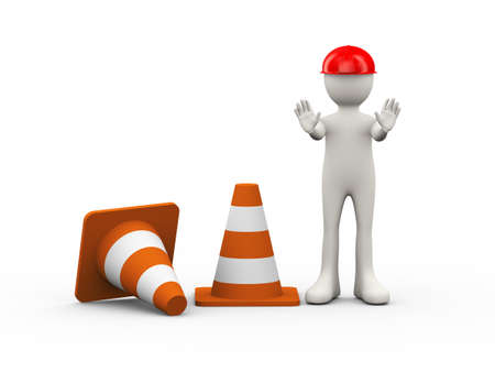 3d illustration of man standing with traffic cones making stop halt gesture pose. 3d human person character and white people
