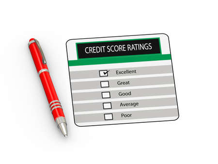 3d illustration of red  pen and credit score rating Stock Photo
