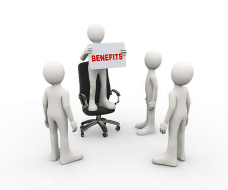 3d illustration of man standing on business chair holding benefits banner. 3d human person character and white people