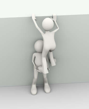 3d illustration of man helping another person. Concept of cooperative help and escape. 3d human person character and white people Stock Photo