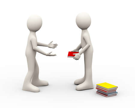 3d illustration of man taking book from another person. 3d human person character and white people