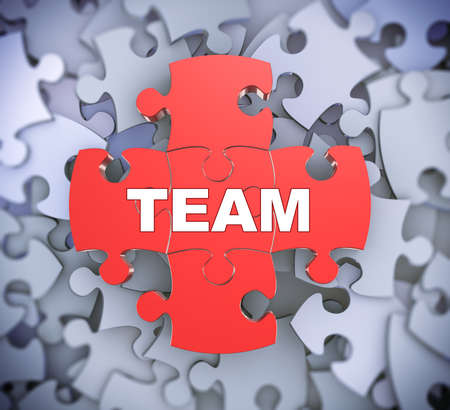 3d illustration of attached jigsaw puzzle pieces word team presentation on background of heap of puzzle pieces